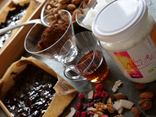 virgin coconut oil, Leinöl, Rezepte, frisches Leinöl, omega 3, schokolade